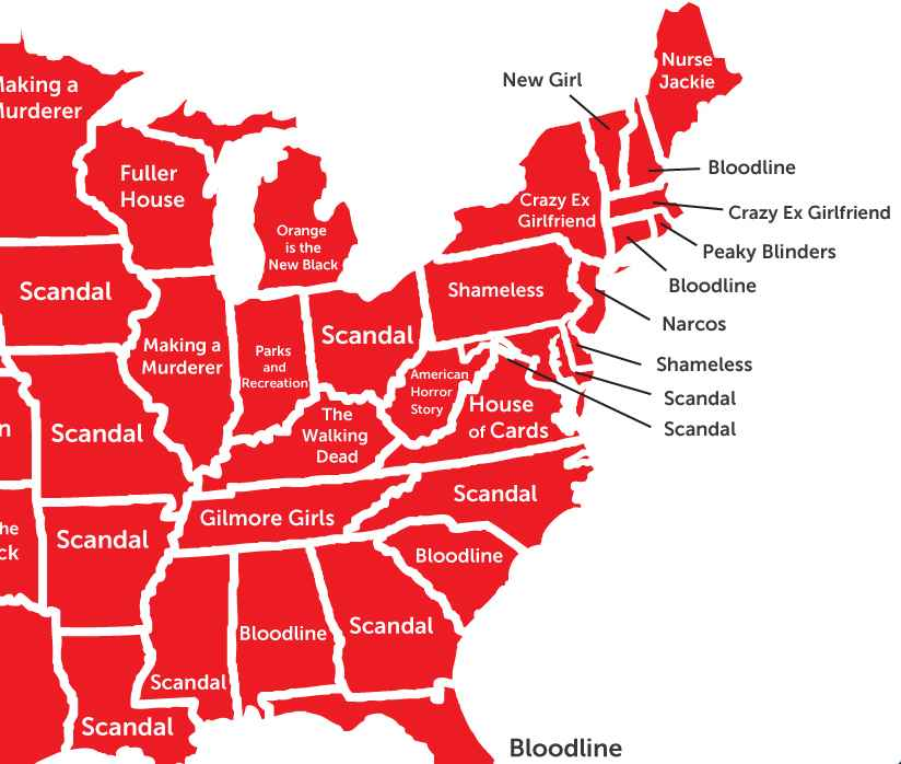 This Map Shows The Most Popular Netflix Show Across All Fifty States Thrillist