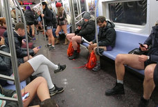 Watch New Yorkers Take Their Pants Off on the Subway... in 20-Degree Weather