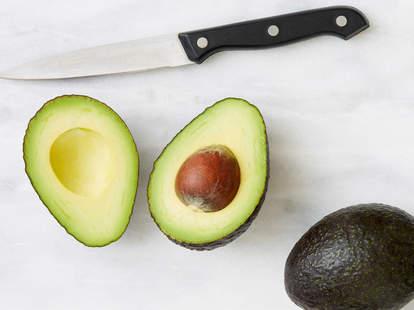 avocado sliced in half