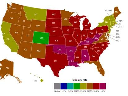 The Most Obese States Across America In Maps Thrillist