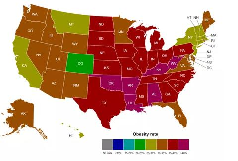 Show The Map Of America.The Most Obese States Across America In Maps Thrillist