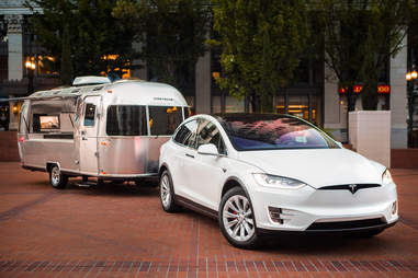 Tesla Model X with an Airstream Trailer