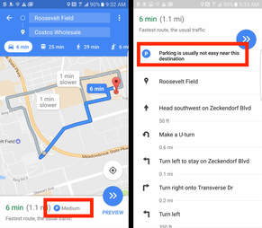 google maps beta parking information