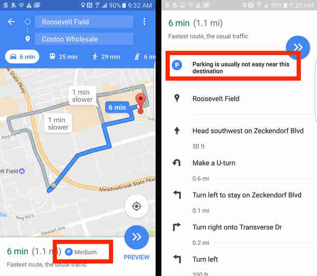 google maps beta parking information