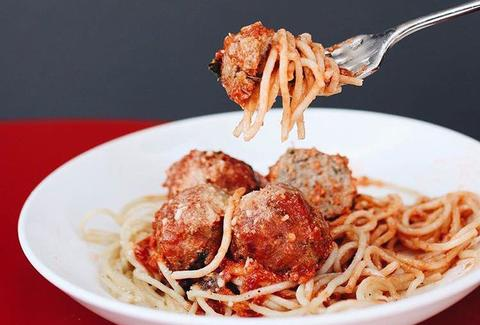 Maybeck's San Francisco spaghetti and meatballs