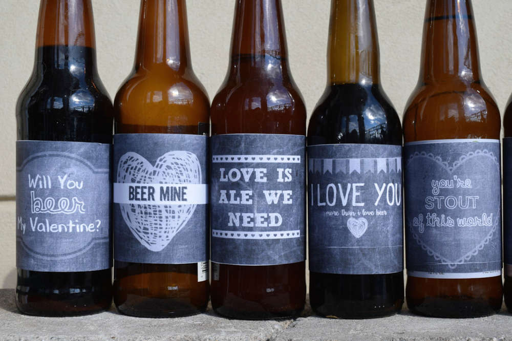 Beer Gift Instant Download Valentines Day Printable Beer Labels Chalk Board