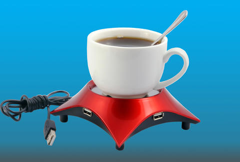 coffee cup on usb mug warmer