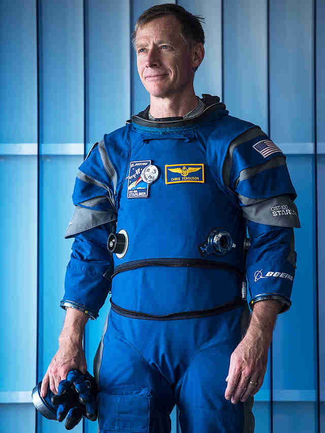 Boeing Starliner spacesuit with helmet off