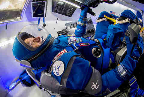 Boeing Starliner blue spacesuit