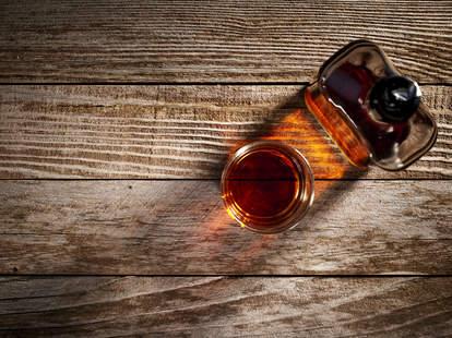 whiskey shot with bottle