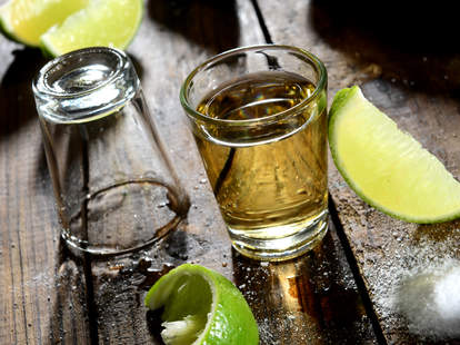 tequila shot with lime and salt rim