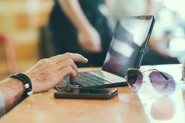 laptop at coffeeshop