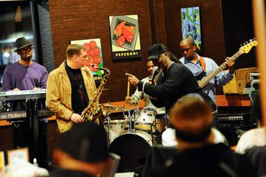 Band playing Wegmans