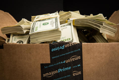 amazon box filled with money