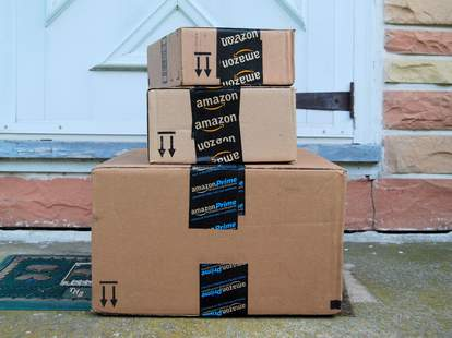 amazon boxes outside house