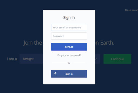 okcupid login screen