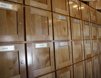 A wall of wood lockers