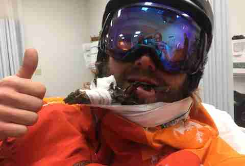 Skier With Stick Through Face