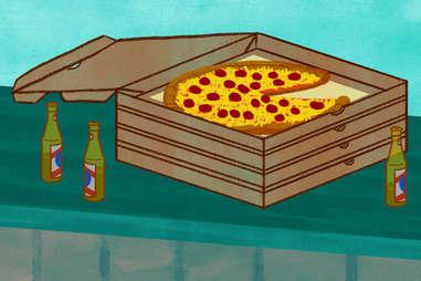 pizza at a bar