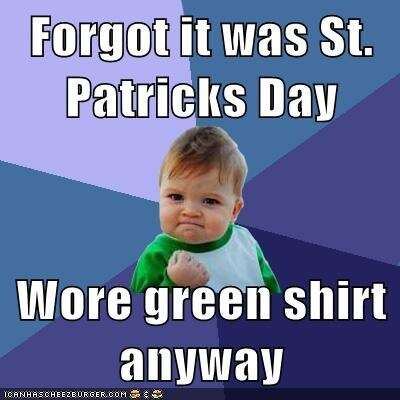 baby wore green on St. Patrick's Day meme