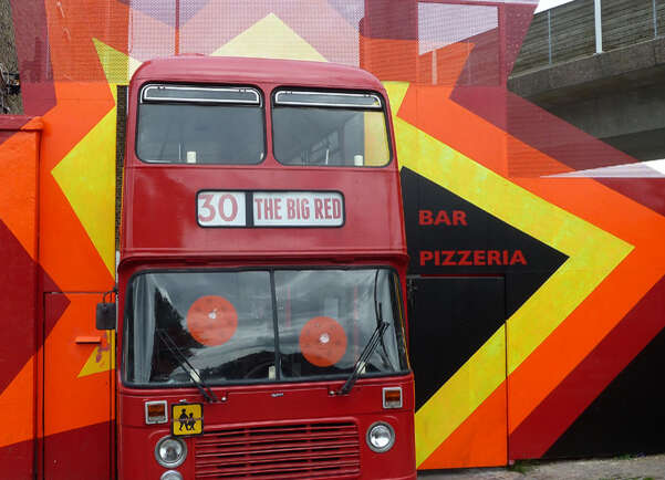 Pizza on a bus