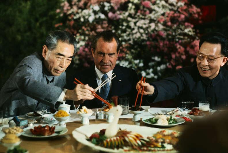 Nixon eating Chinese food