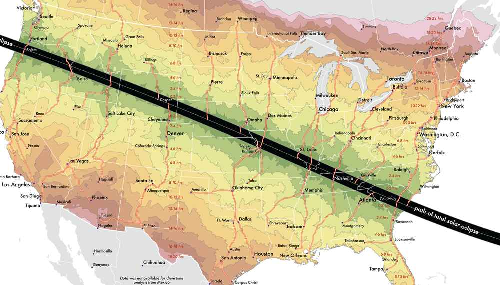 Freer Texas Map%0A Total Solar Eclipse  Map Shows How Long You Have to Drive to See It   Thrillist