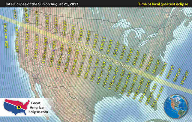 Total Solar Eclipse Map Shows How Long You Have To Drive To See It