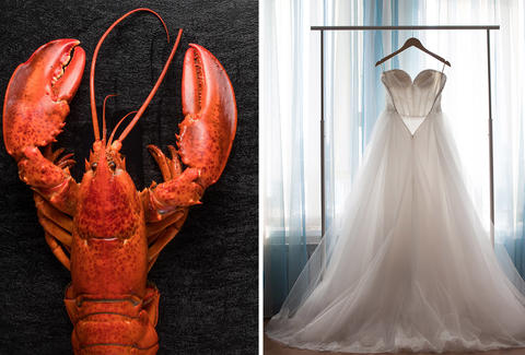 lobster and wedding dress