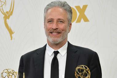 Jon Stewart with Emmys