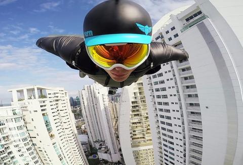 wingsuit flight through skyscraper