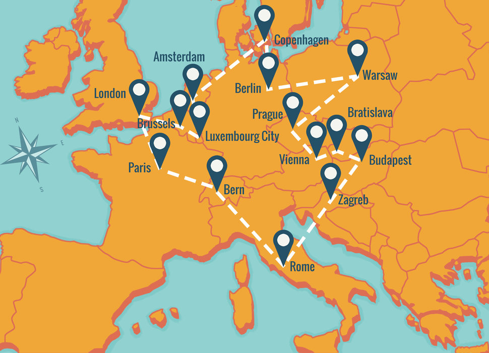 Paris On Europe Map.How To Travel Cheap In Europe Via Wanderu Visit 15 Cities For Under