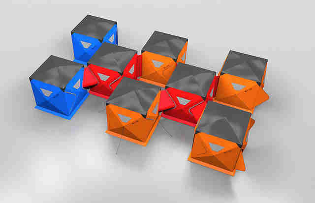 rendering of interconnected Qube Tents