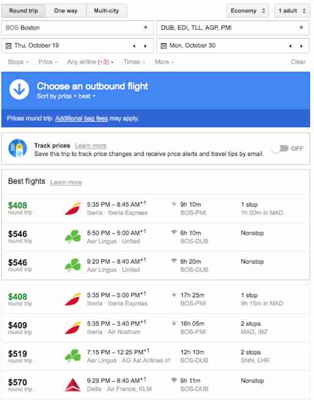 google flights screengrab