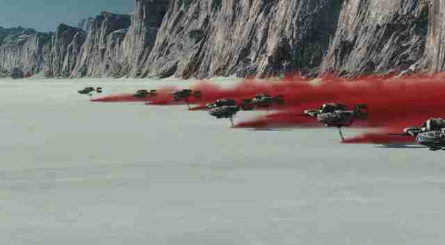 star wars last jedi trailer speeders red dust