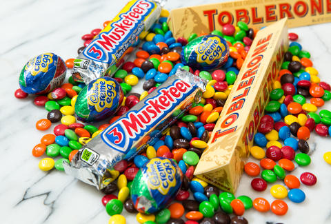 Cadbury Eggs, Toblerone, M&Ms, 3 Musketeers