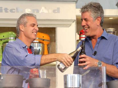 Anthony Bourdain and Eric Ripert Drinking