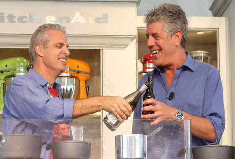 Anthony Bourdain and Eric Ripert Drinking
