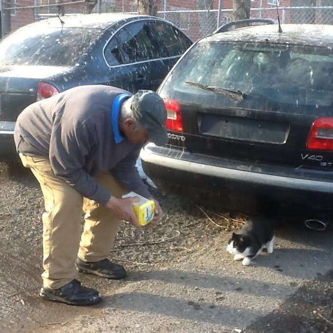 Willie Ortiz with one of the street cats he looks after