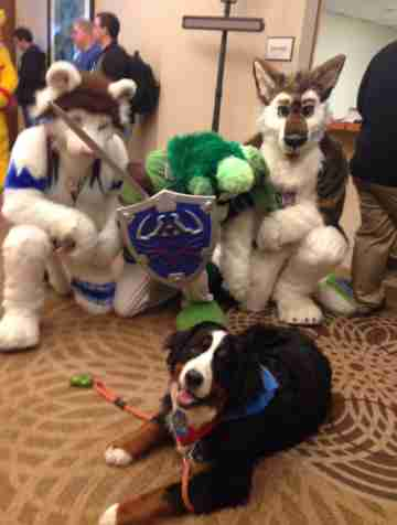 woman takes her dog to a furries convention