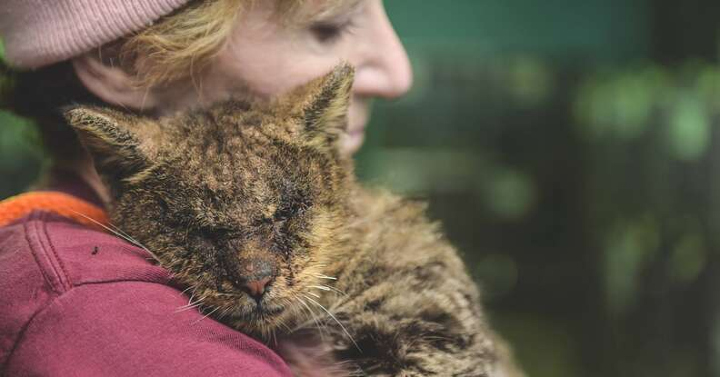 Woman hugs cat with mange