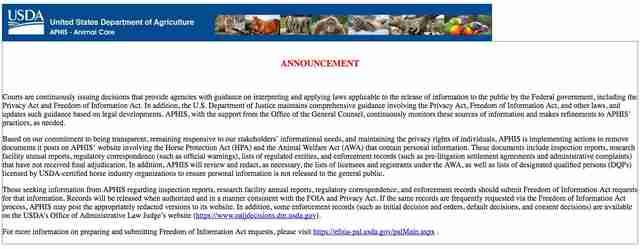 USDA website after animal welfare reports were removed