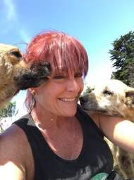 Lya Battle, cofounder of Territorio de Zaguates, a dog sanctuary in Costa Rica, with two of her rescue dogs