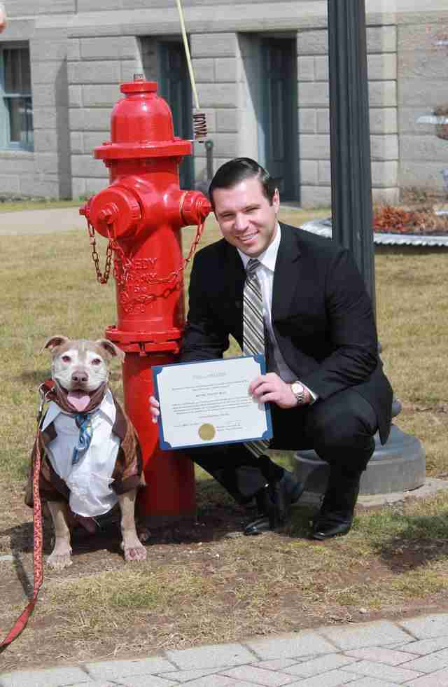 sick dog gets his own fire hydrant