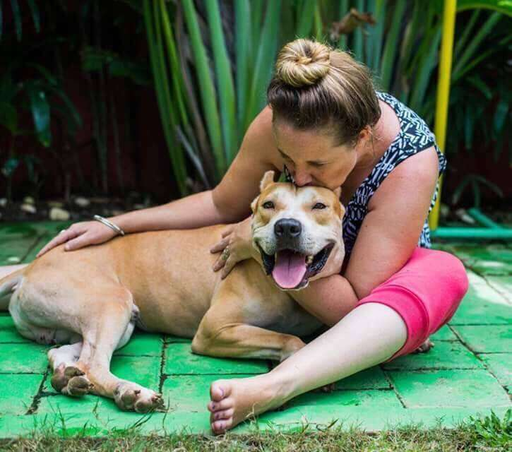 TinTin the pit bull with Ebony Owens of BARC