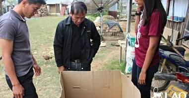 People finding gibbon in cardboard box
