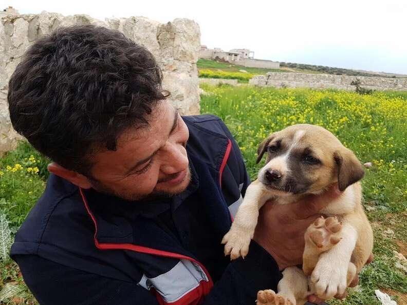 'Cat man' of Aleppo saving abandoned puppy
