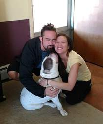 Beefcakes the dog with family