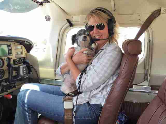Pops, held by Caryl, Pilots N Paws co-pilot