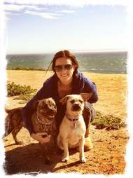 Denes with her dogs who have been missing since burglary in Hartford, CT